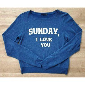 Wildfox Womens Sunday I Love You Blue Sweater XS